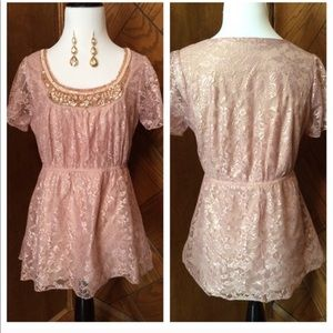 Pink beaded and lace top